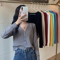 2020新款韩版V领开衫外搭短款上衣百搭纯色薄款长袖针织衫女装