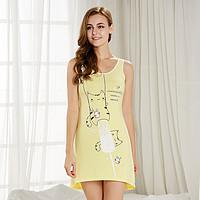 都市丽人自在时光夏季清凉可爱卡通印花背心睡裙睡衣女家居服