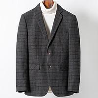 新款休闲西装男外套商务格纹新郎正装百搭男式休闲西服