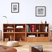 北欧书柜实木格子柜自由组合柜多功能单个小木柜简约小书柜格格柜