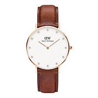【两年保修】DW34mm石英手表专柜同款皮质表带女士手表