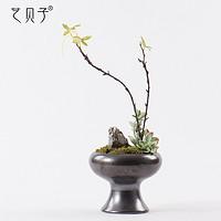 新中式花艺套装石头装饰艺术插花禅意茶室客厅仿真绿植家居摆件