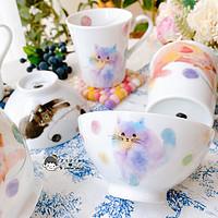 现货日本进口美浓烧和蓝彩色黑色猫咪饭碗瓷器马克杯水杯子