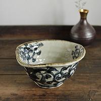 日本原装进口纯手工染付唐草多用钵陶瓷拉面碗釉下彩日式餐具