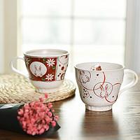 日本进口美浓烧赤绘花猫兔陶瓷马克杯茶杯水杯对杯礼盒套装送礼