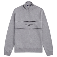 Fred Perry embroidered panel half zip sweat