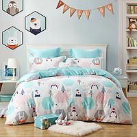 秋冬全棉磨毛儿童卡通印花加厚保暖纯棉床单被套床上用品四件套