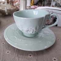 外贸出口餐具珐琅瓷纯净绿浮雕玫瑰咖啡杯特价150ml