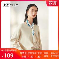 奥莱预售LILY秋冬款女装宽松系印花飘带领薄套头毛针织衫