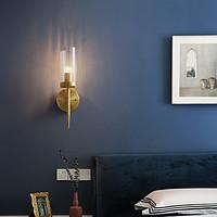希尔顿美式轻奢全铜壁灯现代简约卧室灯具床头灯客厅过道电视墙灯