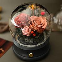 进口玫瑰永生花玻璃罩蓝牙音箱响摆件灯礼盒送女友生日情人节礼物