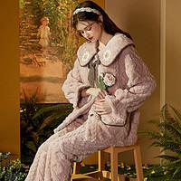 秋冬加绒保暖睡衣女甜美可爱开衫翻领可外穿休闲家居服套装