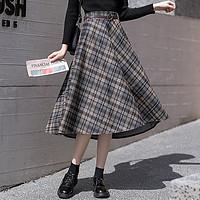 秋冬季新款韩版高腰百搭时尚休闲A字格纹显瘦洋气半截裙女