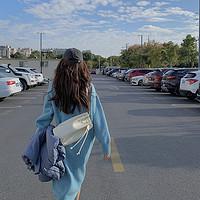 白水女蓝色高领毛衣连衣裙女秋冬季气质修身显瘦套头中长款裙子