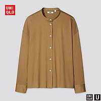 优衣库【设计师合作款】女装丝光棉立领衬衫(长袖)437176
