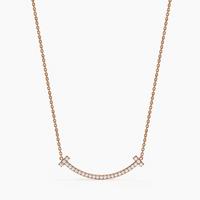 Tiffany T 系列 中号 Smile 项链 18K玫瑰金镶钻项链