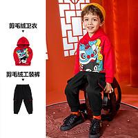 巴拉巴拉男童套装宝宝童装儿童套装新年服2021新款洋气两件套加绒