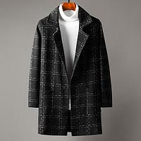 男士大衣中长款翻领外套秋冬季防风韩版潮流休闲格子大衣