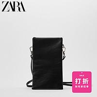 ZARA【打折】新款女包黑色羊皮革手机袋式斜挎包16581510040