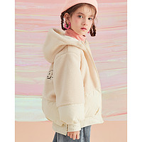 LAVI女童外套2020冬季新款羊羔毛拼接绣花加厚连帽保暖儿童外套女