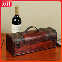 红酒盒子包装盒高档单只礼盒木质葡萄酒双支装通用木盒皮盒箱定制