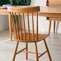 浮生记/北欧温莎椅实木餐椅靠背椅子出口简约现代白橡木餐厅家具