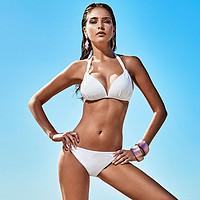 BE性感纯色分体比基尼女ins露背显瘦沙滩温泉游泳度假泳装