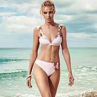 BE性感露背加宽肩带女款比基尼泳装小胸聚拢温泉沙滩度假