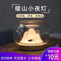 创意暖山灯充电小夜灯卧室床头氛围助眠灯鱼缸网红台灯生日礼物灯