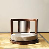 日式榻榻米椅子实木无腿凳子靠背椅禅意简约矮圈椅阳台飘窗椅座椅