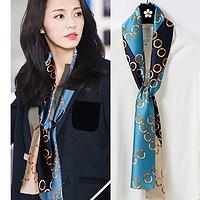 布塔时尚潮流长条小丝巾百搭印花窄边小领巾