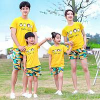 一家三四口亲子母女裤装2021夏季新款男女大童休闲短袖套装薄