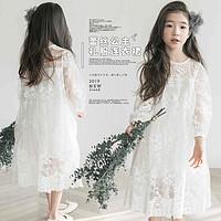 女童连衣裙2021春装儿童蕾丝裙韩版中大童超洋气春夏款网纱公主裙