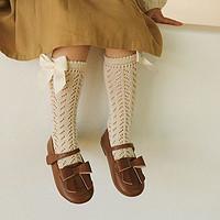 幼悠女童洋气重工中筒袜新款儿童镂空蕾丝蝴蝶结长袜宝宝薄款袜子