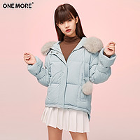 ONEMORE2020冬季新款浅蓝色羽绒服韩版短款保暖外套
