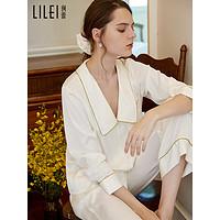 冰丝睡衣女春秋长袖薄款套装高级感丝绸夏季家居服可外穿2021新款