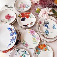 包邮现货日本进口美浓烧和蓝繁花语陶瓷餐碟盘子餐具套装礼品礼盒