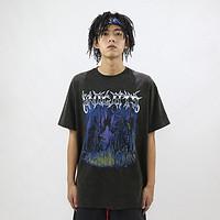 FakeVintage Knight骑士复古印花做旧水洗黑潮流高街嘻哈短袖体恤