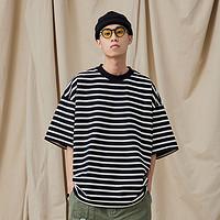NGOARMY21SS重磅320G日系条纹短袖情侣流行宽松复古弧形T恤国潮