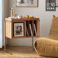 北陌家具杂志柜ins实木中古书柜日式樱桃木悬浮柜北欧沙发小边柜