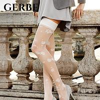 Gerbe格伯100%法国原装进口丝袜优雅山茶花刺绣女大腿袜GJAML