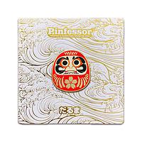 现货-Pinfessor独家原创设计日本祈福达摩DarumaPin幸运徽章胸针