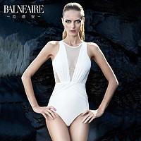 BE范德安60609范德安高端泳衣女性感露背修身显瘦泳装小胸聚拢三角连体游泳衣白色S