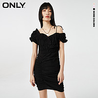 ONLY2021夏季新款时尚短款碎花露肩收腰包臀连衣裙女 121207064