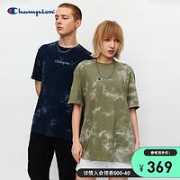 Champion冠军商场同款2021新款刺绣小Logo扎染短袖t恤男女夏季