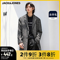 多件多折/杰克琼斯outlets男冬英伦个性几何图案呢子大衣男中长款