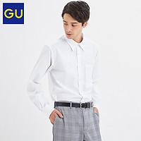 GU极优男装府绸衬衫时尚简约修身商务通勤男士衬衫长袖328430