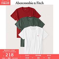 Abercrombie&Fitch男装3件装标识款圆领短袖棉质T恤306961-1AF