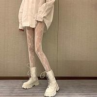 lolita镂空蕾丝网袜打底连裤袜日系洛丽塔复古花藤白色黑丝袜子女青戈