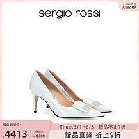 SergioRossi塞乔罗西/21春夏新品sr1系列尖头浅蓝亮面女士高跟鞋